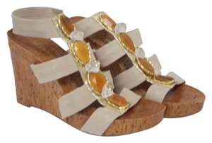 Arturo Chiang Dupre Sandals Cork Platforms Gladiators Bejeweled Taupe Wedges