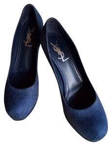Saint Laurent Monogram Blue Pumps