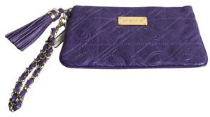 bebe Quilted Tassel Clutch Wristlet in Purple