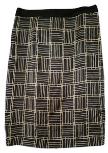 Reiss Silk Pencil Print Structured Skirt Black and Tan
