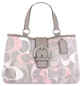Coach Logo Monogram Spring Linen Shoulder Bag