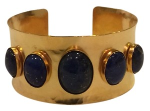 Other Lapis Lazuli Cabochons Hammered Gold Plated Overlay Cuff