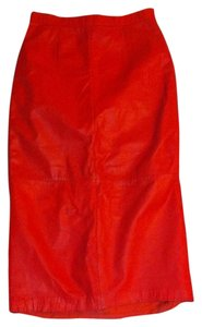 Obssetion Genuine Leather Midi Skirt Ruby Red