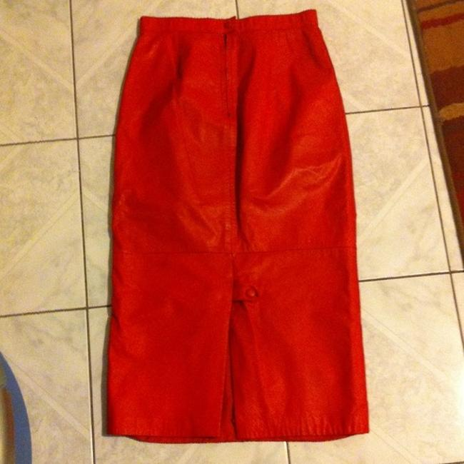 Obssetion Genuine Leather Pencil Skirt Ruby Red