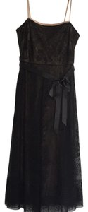 BCBGMAXAZRIA Strapless Tulle Tea Length Embroidered Formal Dress