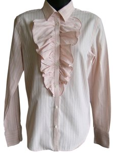 Ralph Lauren Ruffles Cotton Back Pleats Top Pink with white pin stripes
