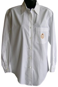 Ralph Lauren Cotton Insignia Crest Top White