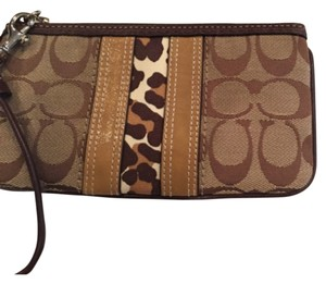 Coach Wristlet in Brown, Tan, Animal Print