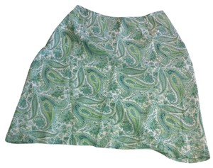 Ann Taylor Petite Paisley Green Silk Side Zipper Skirt Green, Paisley