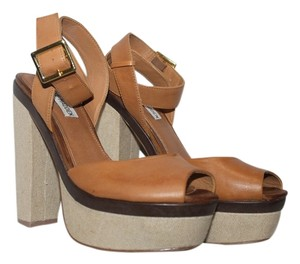 Steve Madden Leather Size 8 Tan Platforms
