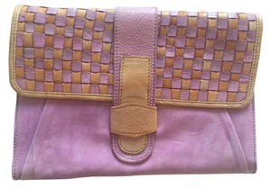 Anthropologie Purple and cream Clutch