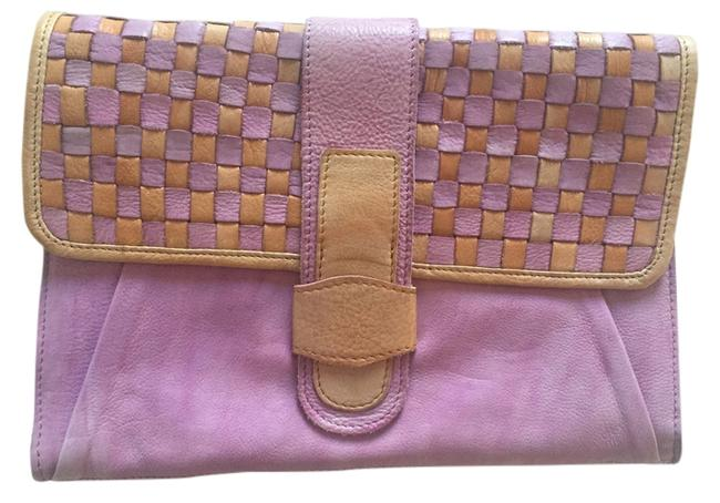 Item - Purple and Cream Leather Clutch