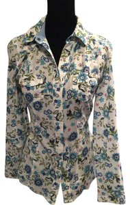 Old Navy Button Down Shirt White w/Floral Design