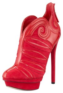 B Brian Atwood Patent Platform Red Suede Boots