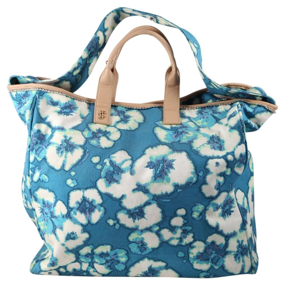 juicy couture floral tote blue white canvas cotton. Black Bedroom Furniture Sets. Home Design Ideas