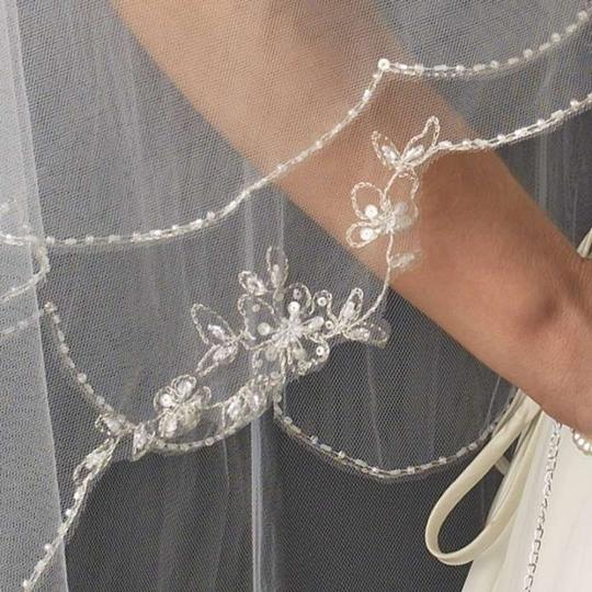 Elegance by Carbonneau White/Silver Medium Two Layer Beaded Embroidery Fingertip Bridal Veil