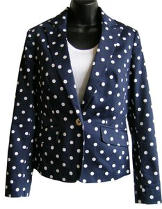 Jones New York Polka Dot Stretch Gold Buttons Navy and White Blazer