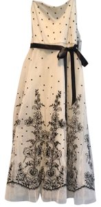 BCBGMAXAZRIA Strapless Tulle Polka Dot Embroidered Tea Length Dress