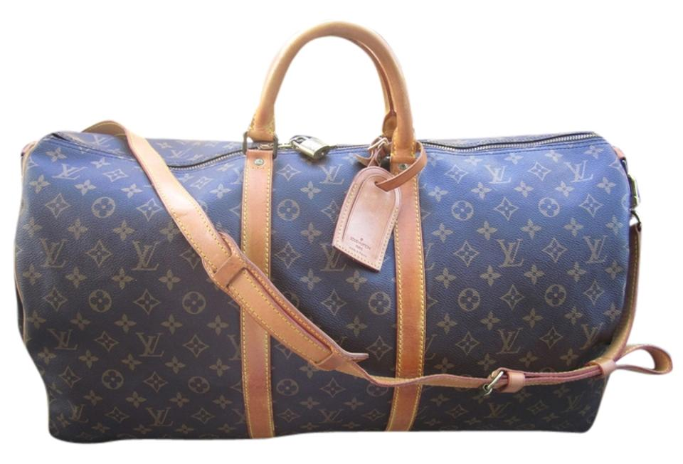 b34a5dd981ff Louis Vuitton Keepall 55 Bandouliere With Shoulder Strap Duffle Brown  monogram Travel Bag Image 0 ...
