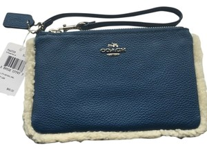 Coach Leather F64709 Wristlet in Slate Blue / Natural