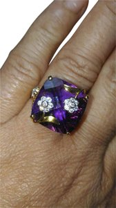 HUGE 13.40CT PURPLE AMETHYST DIAMOND 22K GOLD COCKTAIL RING