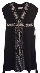 Kimchi Blue short dress Black Embroidered Empire Waist Tie on Tradesy