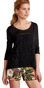 Anthropologie Meadow Rue Black Lace Top
