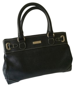 Ralph Lauren Leather Silver Hardware Satchel in Black