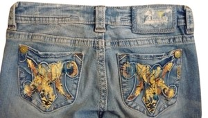 MEK DNM Hand Painted Hand Crafted Straight Leg Jeans-Light Wash