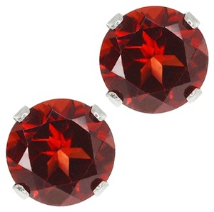 Other 6mm Round Genuine Red Garnet Sterling Silver Stud Earrings 2.00ctw