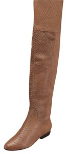 Kelsi Dagger Over The Knee Tall Boots python embossed leather brown Flats