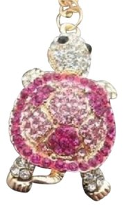 Betsey Johnson Betsey Johnson Swarovski Pink Crystal Turtle Pendant Necklace