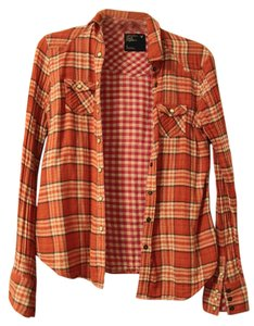 American Eagle Outfitters Flannel Summer Fall Button Down Shirt Orange