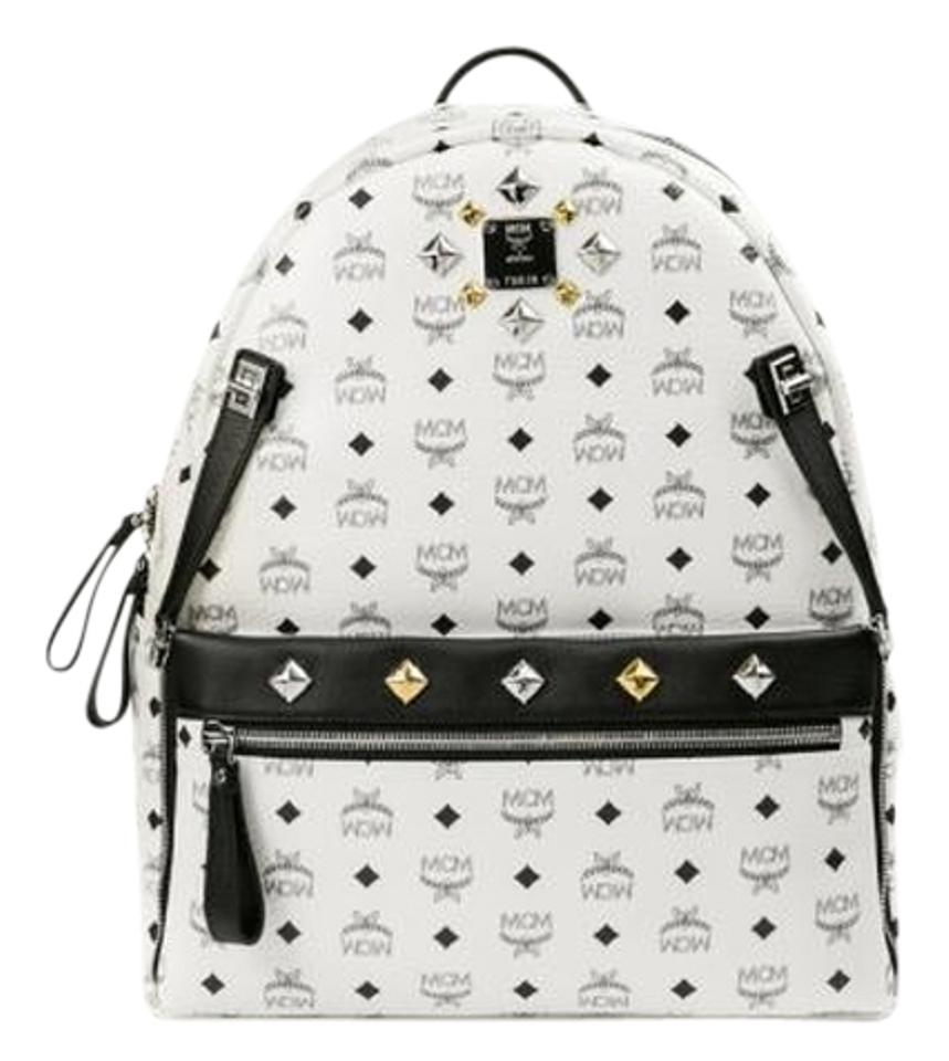 eedf1fadbee0 MCM Dual Stark Diamond Stud Large (New with Tag) White Coated Canvas Leather  Backpack