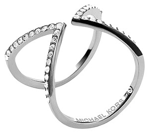 Michael Kors Michael Kors Open Arrow Ring Clear Pave SIlver Tone Size 7 With Dust Pouch