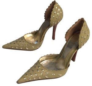 Bakers Scalloped Leather Woven Light Olive Green with Silver Pumps