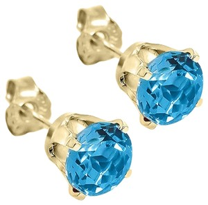 Giselle Bridals 1.20 Ct Round 5mm Blue Topaz 14K Yellow Gold Stud Earrings