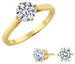 Giselle Bridals 3.00ctw Yellow Gold Plated Ring & Stud Earring Set Made with Swarovski Zirconia (Ring Size: 5-9)