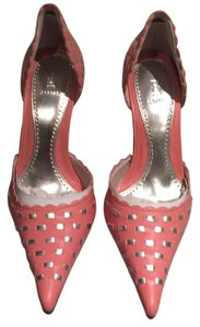 Bakers Scalloped Woven Leather Pink with silver Pumps