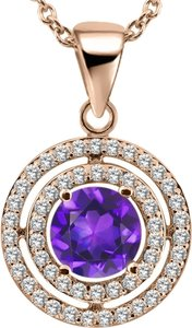 Giselle Bridals 1.39 Ct Round Purple Amethyst 925 Rose Gold Plated Silver Pendant