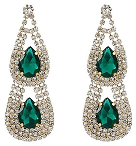 Giselle Bridals Genuine crystal earings gold plated color with two main Green Crystals stones
