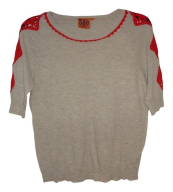 Item - Beige/Gray with Orange Lace Design Tee Shirt Size 6 (S)