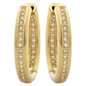 Giselle Bridals Stunning 18K Yellow Gold Plated CZ In N Out Huggie (18mm = 3/4 inch)