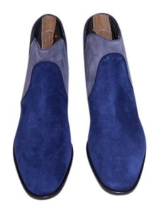 Zoe Lee Suede & Leather Lovely Color Combo Made In Italy Blue/Grey Flats