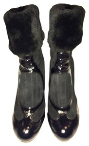 Chie Mihara Suede Patent Faux Fur Black Boots