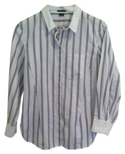 Theory Button Down Shirt White Blue