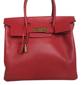 Reina Diaz Leather Birkin Gold Hardware Satchel in Red