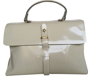 Wathne Vintage Patent Leather Suede Gold Hardware Satchel in Off white