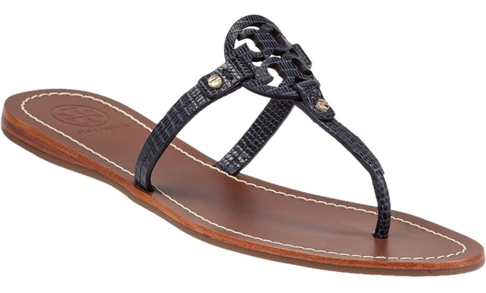 Tory Leather Burch Blue Mini Miller Leather Tory Snake Print Sandals f7c16e