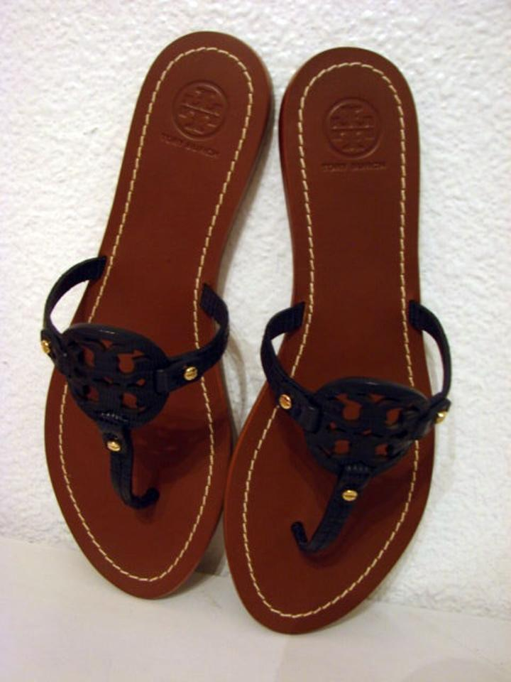 5192c4123477 Tory Burch Blue Mini Miller Leather Snake Print Sandals Size US 9 ...